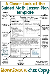 This lesson plan template can help you organize your Guided math lessons. This lesson plan template gives you places to list your lesson, vocabulary, materials, differentiation, and any teaching ideas. This lesson plan template is the first step to having your guided math rotations organized. Download a free copy of this template!