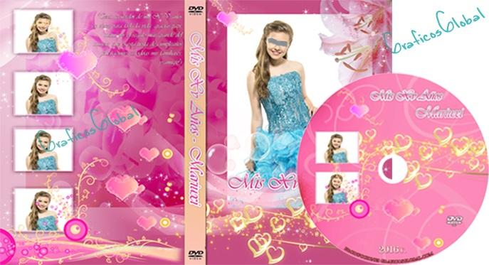 portada para dvd de xv años en psd color rosado