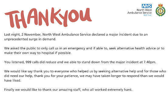031120 Thank you from the NW Ambulance service