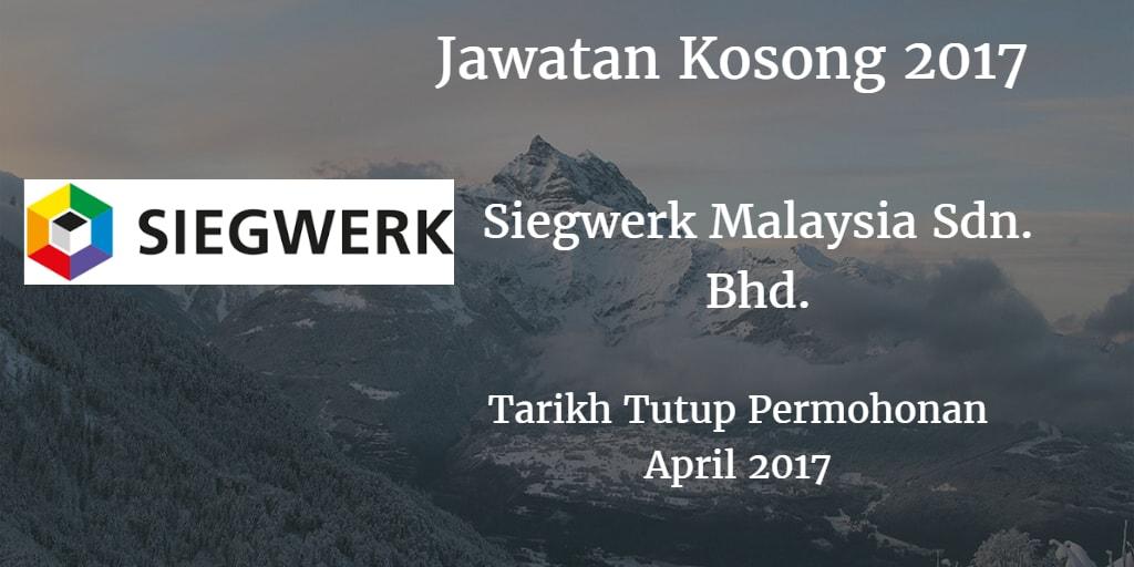 Jawatan Kosong Siegwerk Malaysia Sdn.Bhd.April 2017