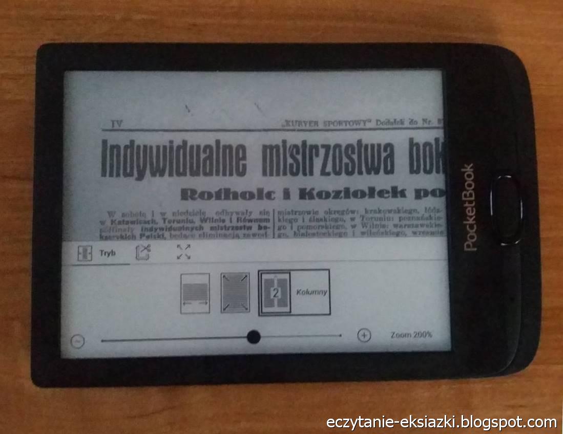 PocketBook Basic Lux 2 – plik DJVU ze stroną z gazety Ilustrowany Kuryer Codzienny w trybie kolumnowym w parze z obróceniem tekstu