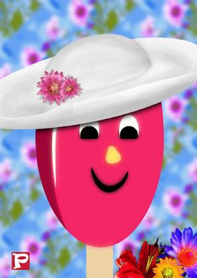 Illustration: Pinkabell mit Hut und Blumendeko