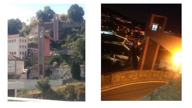 Imagens do Elevador do jardim, tanto desde abaixo como estando em cima do elevador. Vistas laterais da cidade.