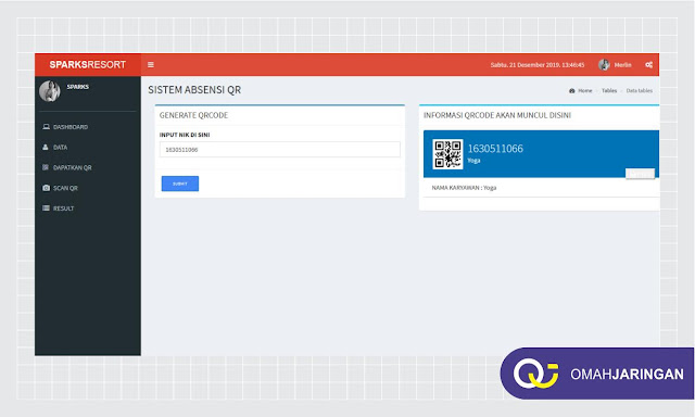 Dasboard Admin Aplikasi Absensi Karyawan Berbasis Web