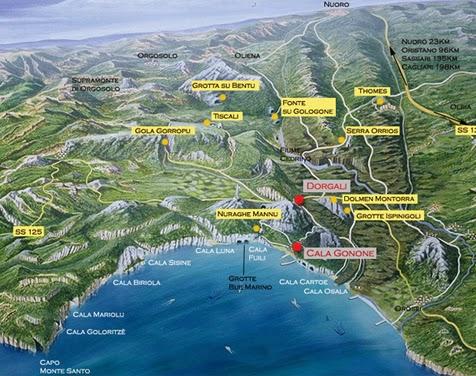 Localización de las Calas y puntos de interés del Golfo de Orosi ...