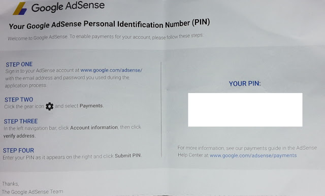 An envelope contain Google AdSense PIN for address verification