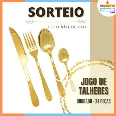 SORTEIO - Jogo de Talheres Dourado 24 Peças