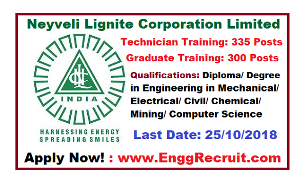 NLC Recruitment 2018 for Graduate and Technician