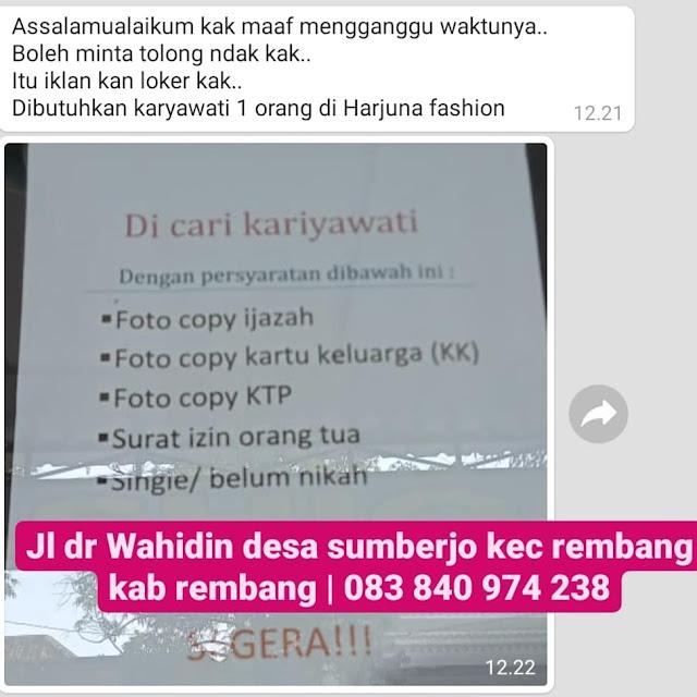 Lowongan Kerja Pegawai Toko Pakaian Harjuna Fashion Rembang