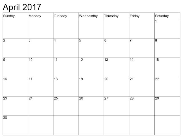 blank april 2017 calendar pdf