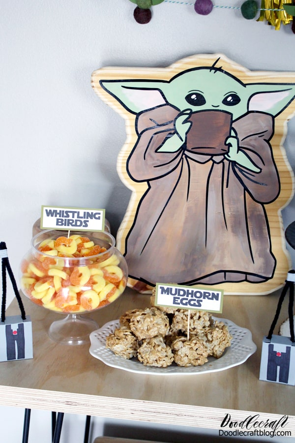 Name the food at your Baby Yoda party things to do with the Mandalorian series. Mudhorn eggs are actually Special K treats, and whistling birds are just gummy rings, but it's all about the presentation.
