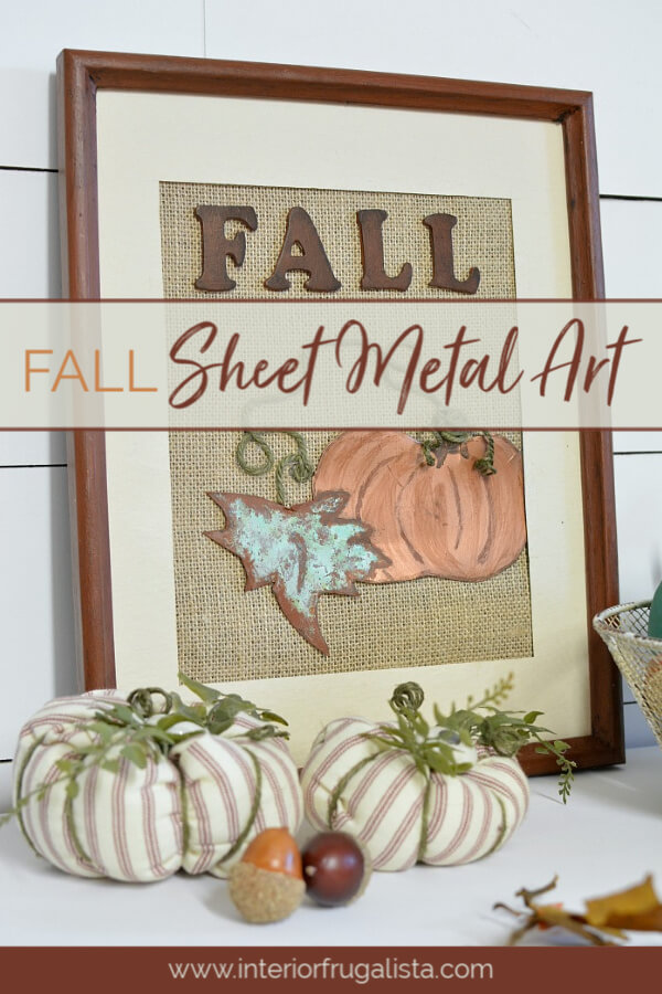 How to make unique burlap and oxidized copper sheet metal pumpkin art for Fall with a recycled thrift store picture frame and copper metal effects kit. #fallwalldecor #pumpkincraft #diyfalldecor
