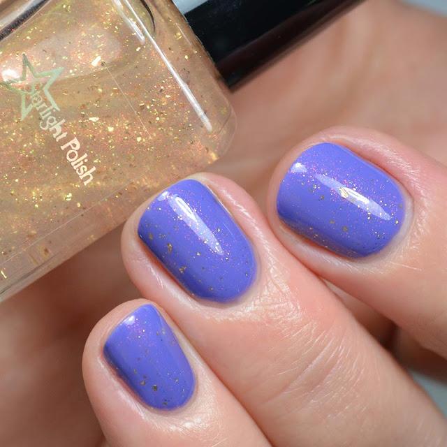 rainbow color shifting nail polish topper swatch