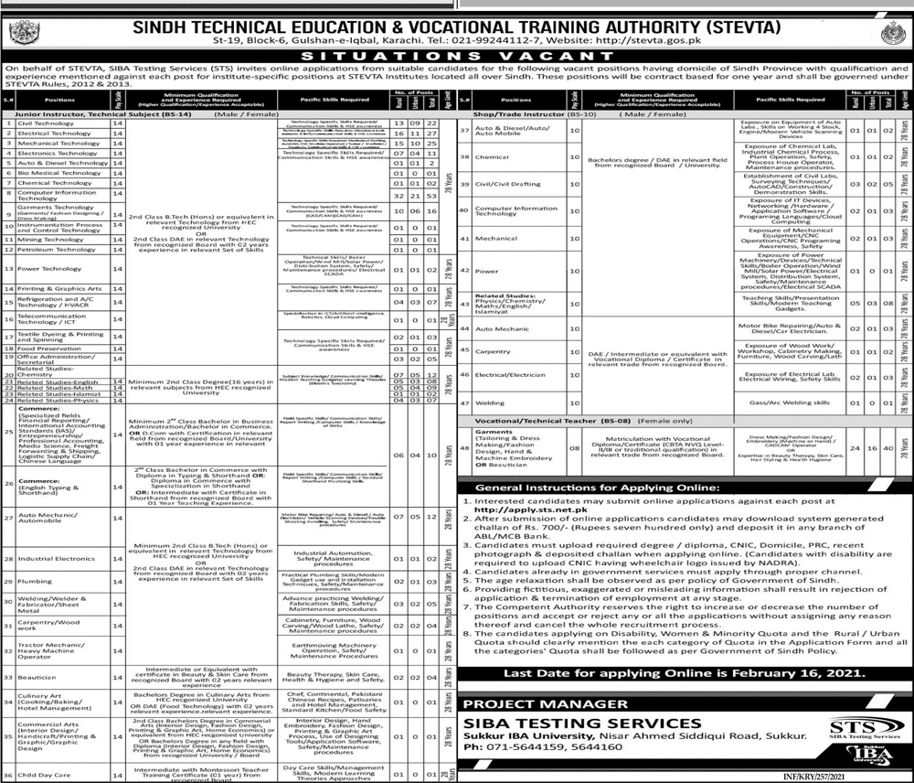 Sindh Technical Education & Vocational Training Authority (STEVTA) Jobs