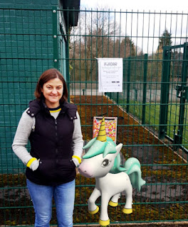 Emily and a unicorn in Adswood Park