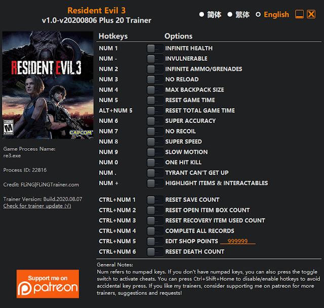 Tampilan Trainer Resident Evil 3 PC