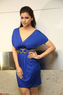 Mannara Chopra in Short Blue Dress at Rogue Movie Teaser Launch 1st March 2017 128.JPG
