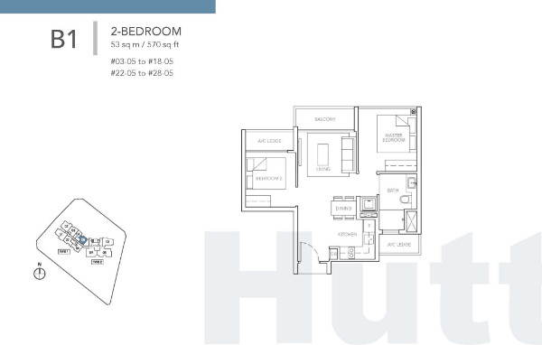 Sturdee Residences 2 bedroom floor plan