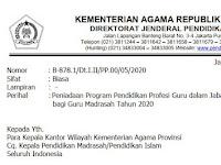 Surat Edaran Tentang Peniadaan PPG Dalam Jabatan Bagi Guru Madrasah Tahun 2020
