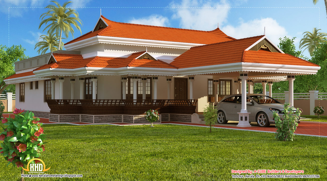 Kerala model house design 2292 sq ft kerala home for Kerala traditional home plans with photos
