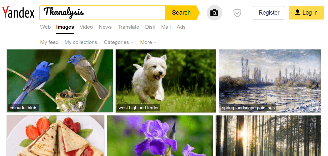 Reverse Image Search page of Yandex search engine.