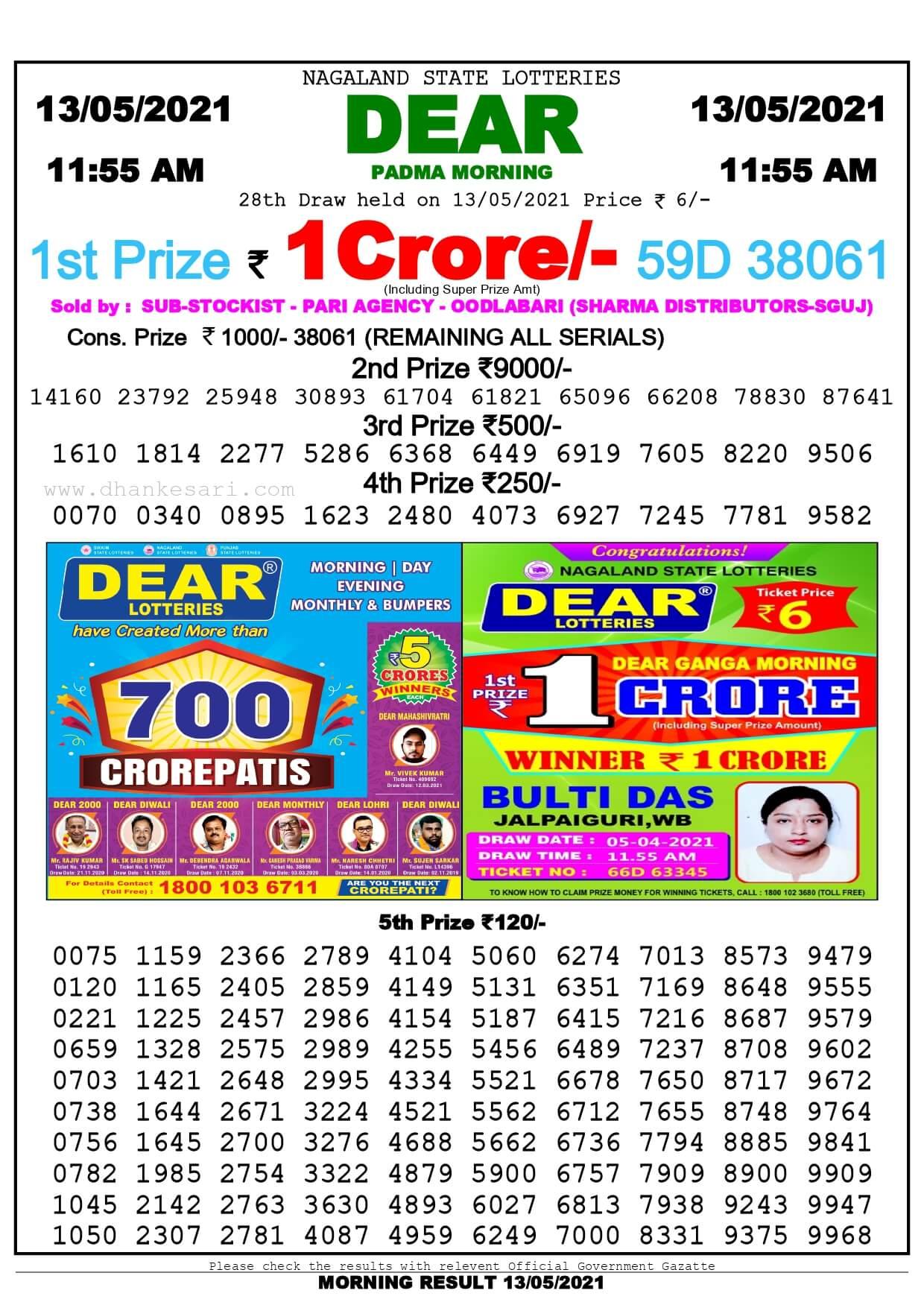 Dhankesari Lottery Sambad Result Today 11:55 AM 13.5.2021