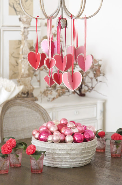 """Hearts-and-Crafts"" for Valentine's Day; celebration with red and pink decor; Nora's Nest"