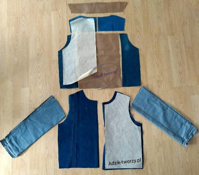 kurtka jeansowa DIY ze spodni wykrój