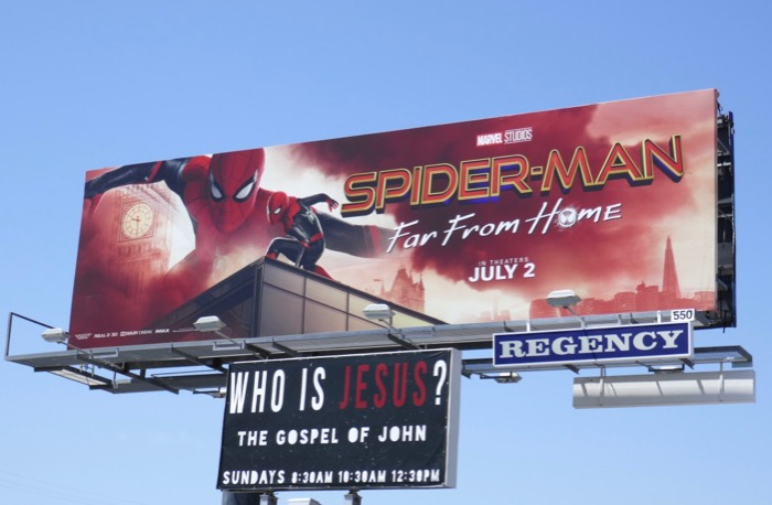 SpiderMan Far From Home movie billboard