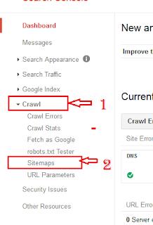 crawl par click karne ke bad sitemap par click kare