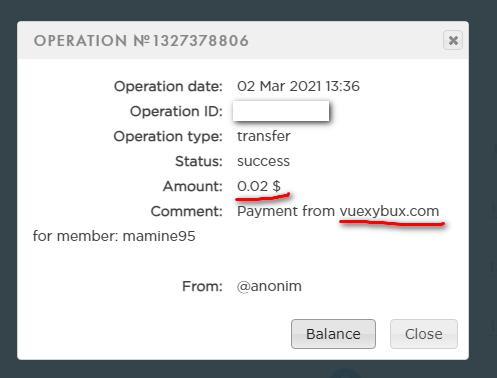 اثبات سحب من موقع Vuexybux