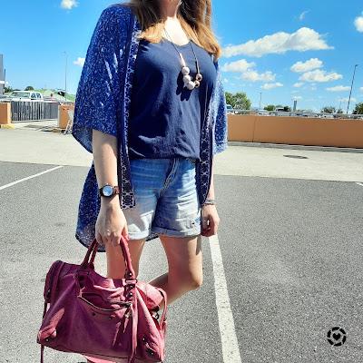 awayfromtheblue Instagram | navy printed kimono v-neck tee, denim shorts and pink Balenciaga city bag