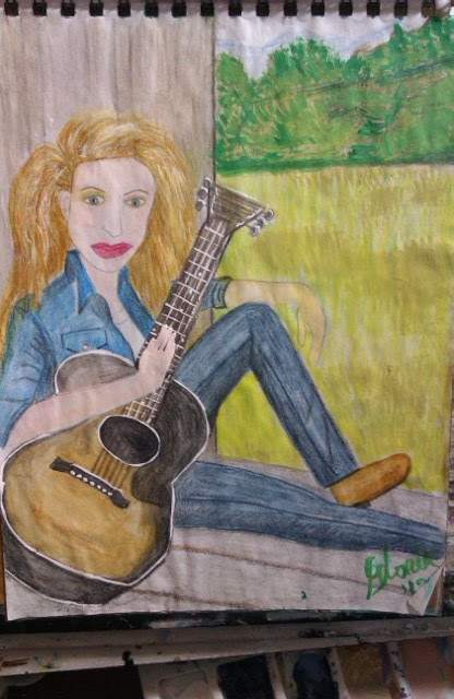 sketch in watercolors by Gloria Poole; of girl with guitar  sitting on barn floor