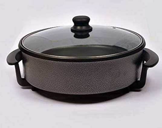 Jet Roy Non Stick Electric Multipurpose Cooker Pan Pizza Maker with Unbreakable Lid, 36 cm, Black Pizza Maker
