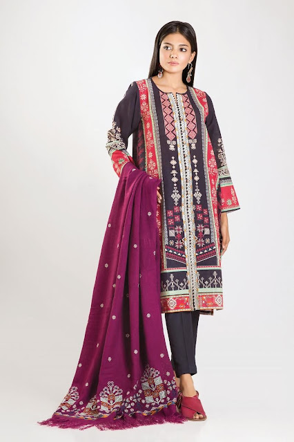 khaadi winter embroidered collection grey colour 3 piece suit