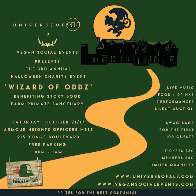 Vegan Social Events, created by Love Wild Live Free, has partnered with UNIVERSEOFÁLI to bring the wonderful world of OZ to life, for their 3rd Annual Halloween Charity Event, benefiting Story Book Farm Primate Sanctuary