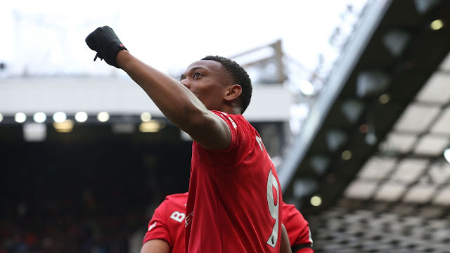 Manchester United forward Anthony Martial celebrating his fine goal against Watford in the Premier League