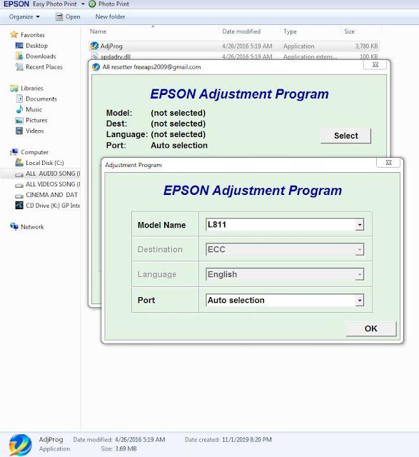 Epson L811 resette