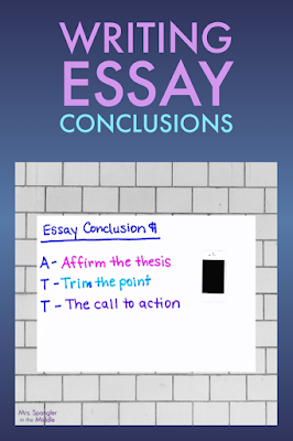 Give your middle school students a plan for writing essay conclusion paragraphs!