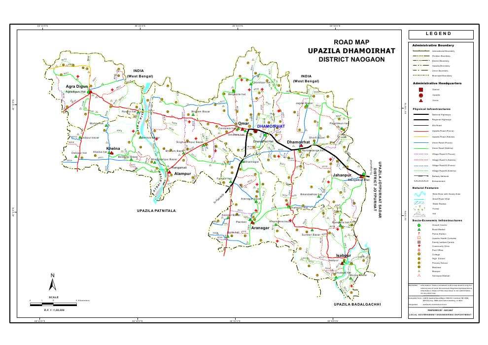 Dhamoirhat Upazila Road Map Naogaon District Bangladesh
