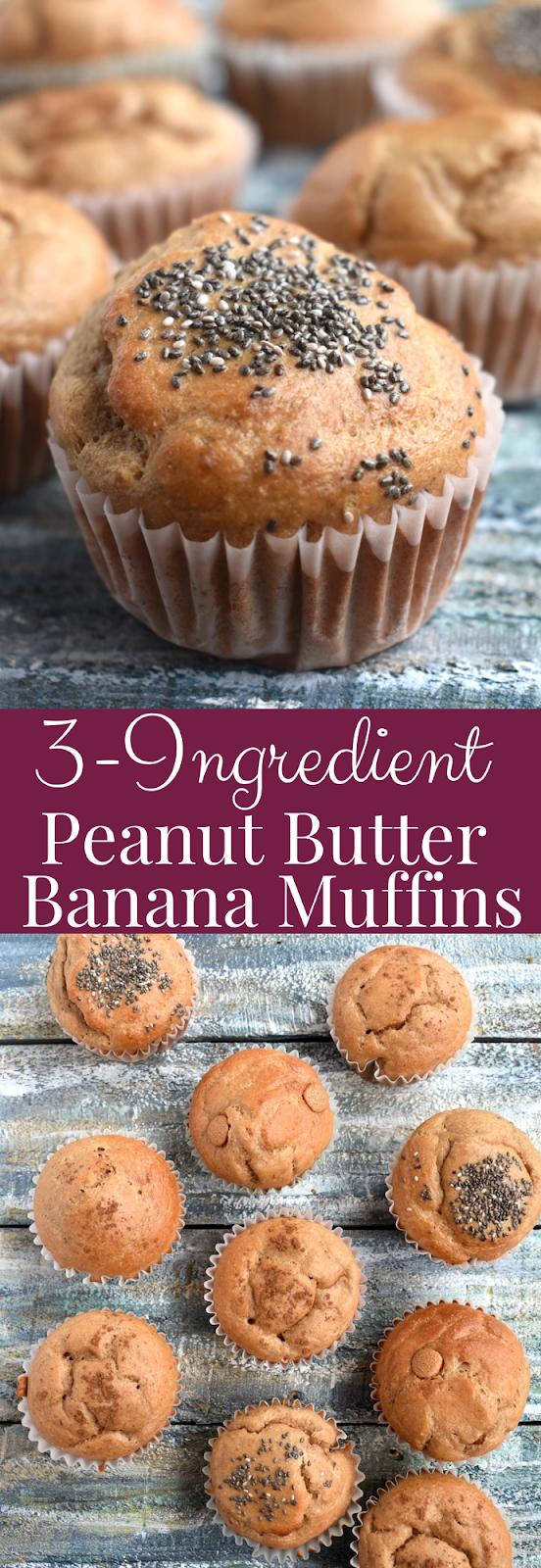 3-Ingredient Peanut Butter Banana Muffins