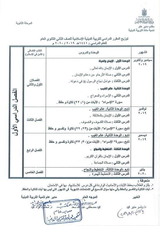 توزيع مناهج التربية الدينية الاسلامية لكل الصفوف و المراحل (ابتدائي - اعدادي - ثانوي) للعام الدراسي 2019 / 2020 9