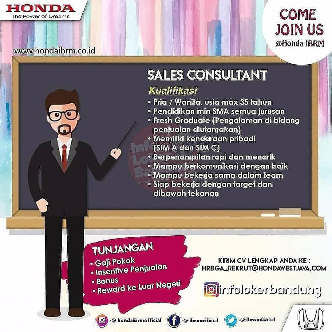 Lowongan Kerja Sales Consultant Honda IBRM Bandung Agustus 2019