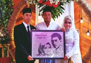 mahar pernikahan frame siluet