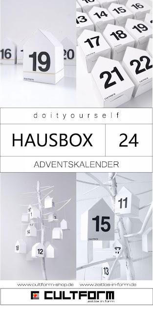 Die Hausbox von Cultform. Ein eindrucksvolles und doch einfaches DIY: kleine Geschenke individuell modern verpacken im aktuellen Watercolor-Trend: Hausbox als Adventskalender mit Helvetica Zahlen 1-24, Schearz.Weiß