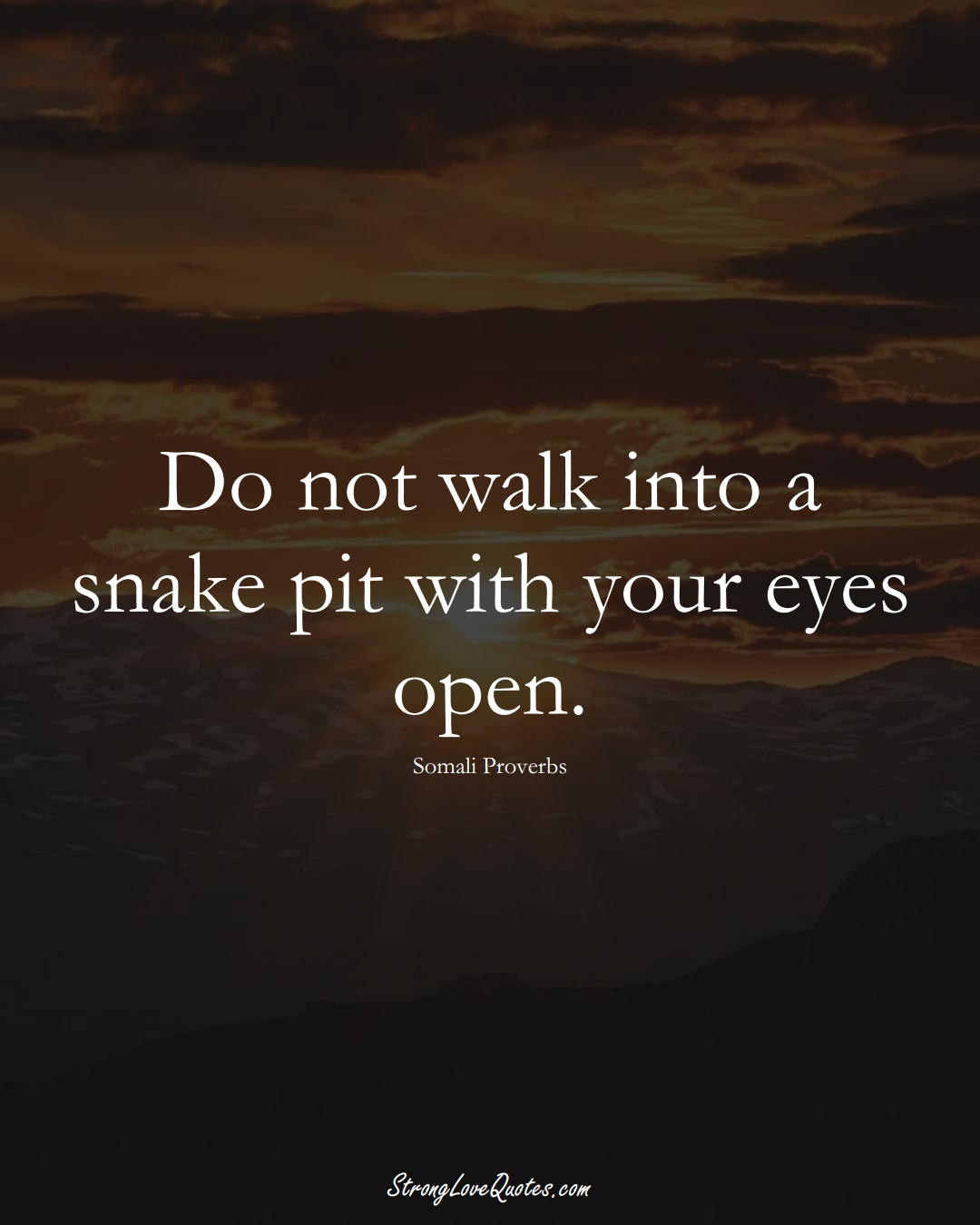 Do not walk into a snake pit with your eyes open. (Somali Sayings);  #AfricanSayings