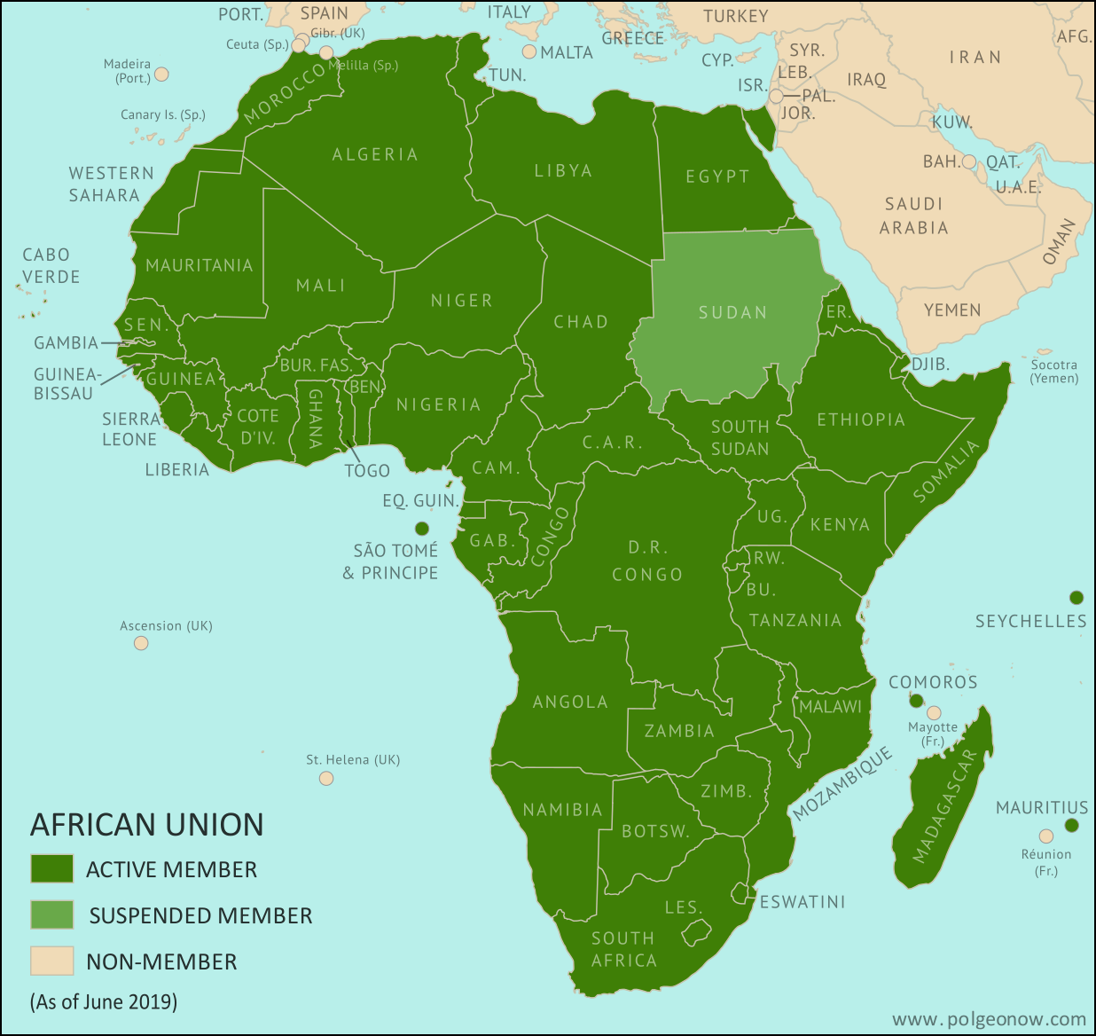 African Union: Map of Africa showing which countries are in the African Union, including active and suspended member countries and non-member territories. Updated for the June 2019 suspension of Sudan (colorblind accessible).