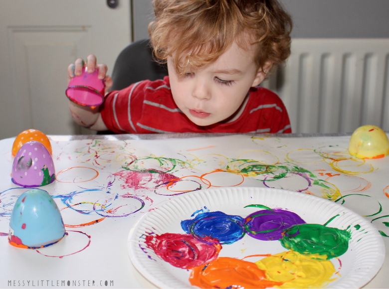 Plastic Easter egg painting for toddlers and preschoolers
