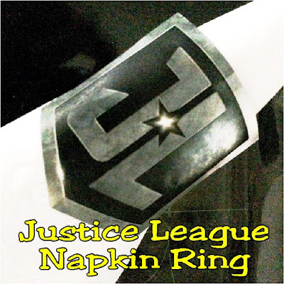 Throw a superhero dinner party for the new Justice League movie with easy party printables. Use these Justice league logo printable napkin rings to wrap up those villains and your  napkins for some super party fun.