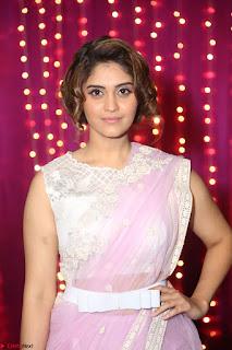 Surabhi in Designer Pink Saree and White Sleeveless Choli at Zee Telugu Apsara Awards 2017 10.JPG